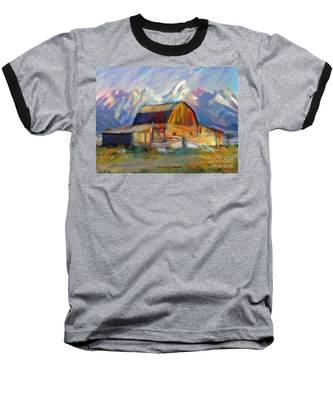 Old Wyoming Barn Baseball T-Shirt