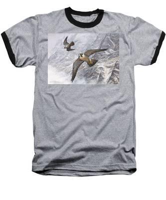 Pair Of Peregrine Falcons In Flight Baseball T-Shirt