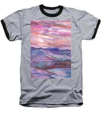 Pink Mountain Landscape Baseball T-Shirt