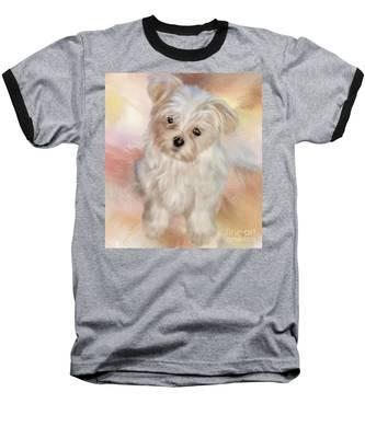 Puppy Dog Eyes Baseball T-Shirt by Lois Bryan