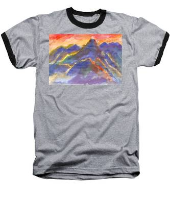 Red Sunset In The Mountains Baseball T-Shirt