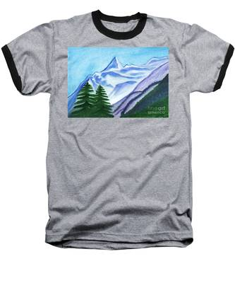 Two Mountain Spruce Against The Backdrop Of Snow-capped Peak Baseball T-Shirt