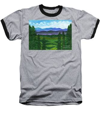 View From A Mountain Slope To Distant Mountains And Forests Baseball T-Shirt