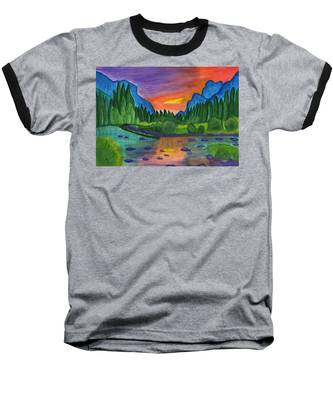 Mountain River In The Background Of The Forest And The Blue Mountains At Sunset Baseball T-Shirt