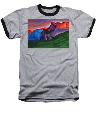 Snowy Peaks Of The Mountains With A Waterfall Lit Up By The Orange Dawn Baseball T-Shirt