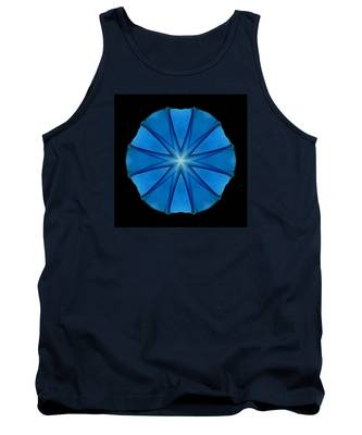 Blue Morning Glory Flower Mandala Tank Top