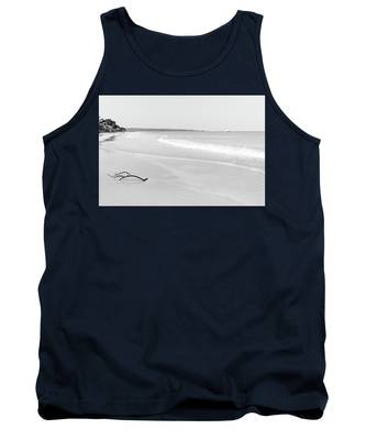 Sand Meets The Sea In Black And White Tank Top