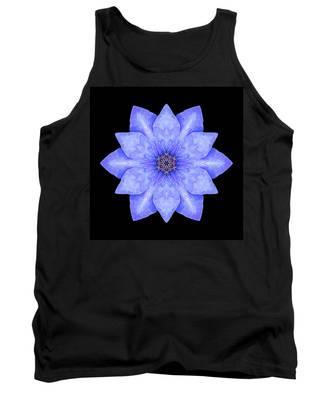 Blue Clematis Flower Mandala Tank Top