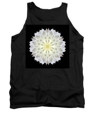 Giant White Dahlia Flower Mandala Tank Top