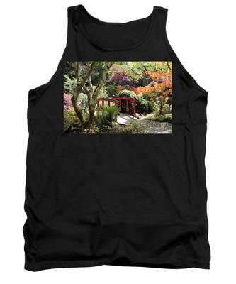 Japanese Garden Bridge With Rhododendrons Tank Top