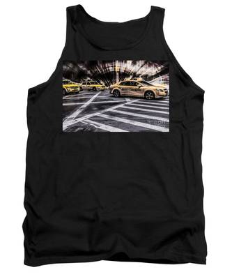 Nyc Yellow Cab On 5th Street - White Tank Top