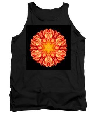 Orange Dahlia Flower Mandala Tank Top
