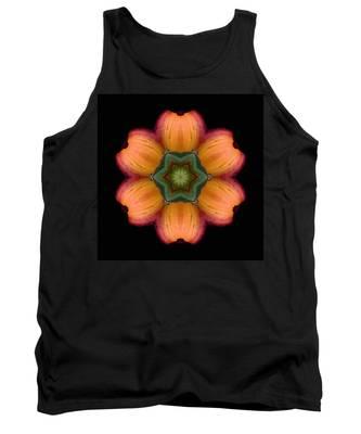 Orange Daylily Flower Mandala Tank Top