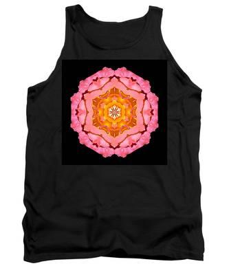 Pink And Orange Rose I Flower Mandala Tank Top