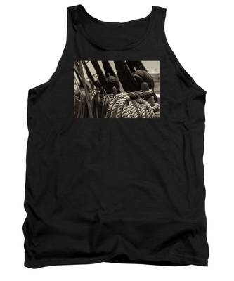 Tied Up Black And White Sepia Tank Top
