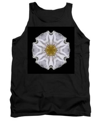 White Beach Rose I Flower Mandala Tank Top