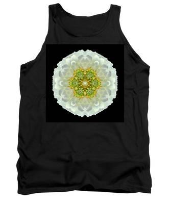 White Zinnia Elegans V Flower Mandala Tank Top