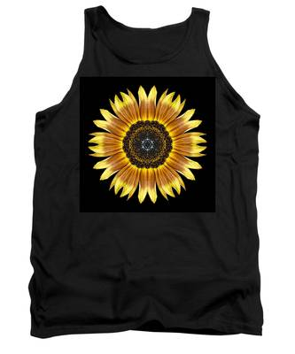Yellow And Brown Sunflower Flower Mandala Tank Top