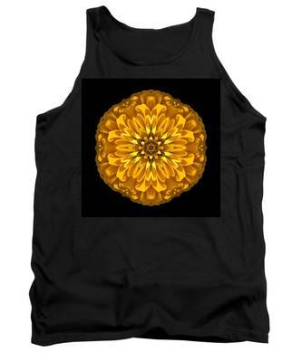 Yellow Zinnia Elegans Flower Mandala Tank Top