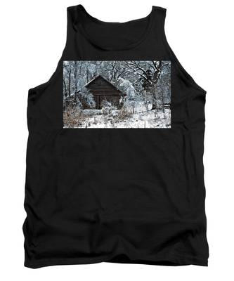 Snow Covered Barn Tank Top