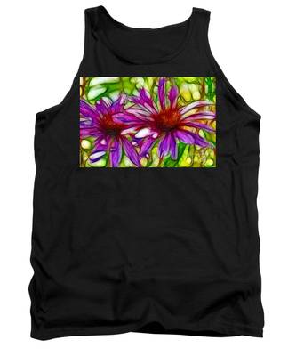 Two Purple Daisy's Fractal Tank Top