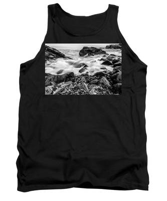 Waves Against A Rocky Shore In Bw Tank Top