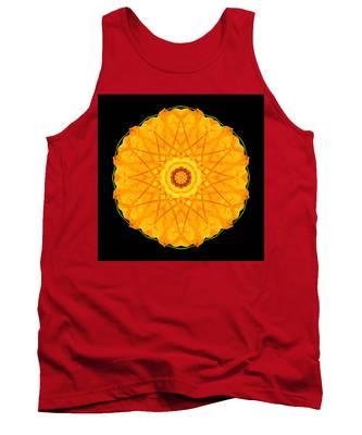 Orange Nasturtium Flower Mandala Tank Top