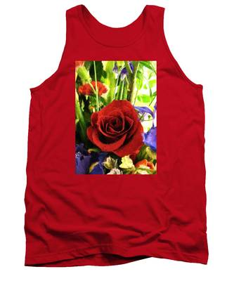 Red Rose And Flowers Tank Top