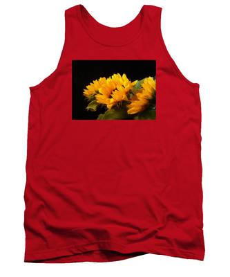 Sunflowers On A Black Background Tank Top