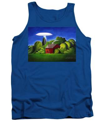 Feline Ufo Abduction Tank Top
