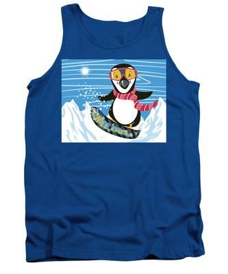 Snowboarding Penguin Tank Top