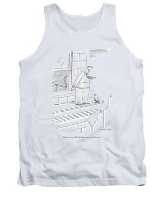 Bird Talking To Man Standing On The Ledge Tank Top