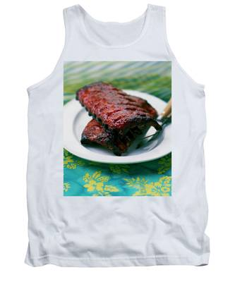 Grilled Ribs On A White Plate Tank Top