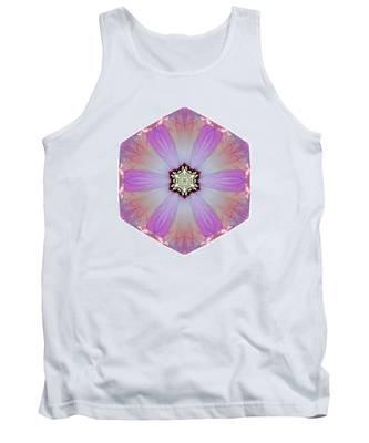 Pink And White Hibiscus Moscheutos I Flower Mandala White Tank Top
