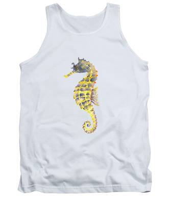 Blue Yellow Seahorse - Square Tank Top