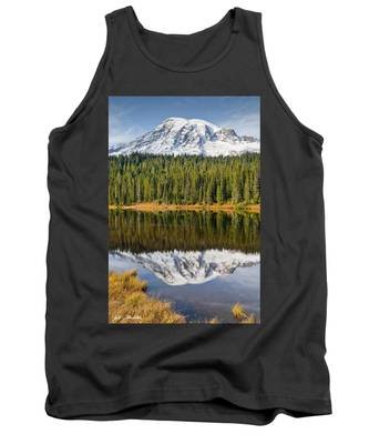 Mount Rainier And Reflection Lakes In The Fall Tank Top