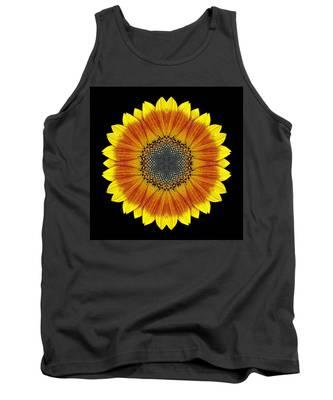 Orange And Yellow Sunflower Flower Mandala Tank Top