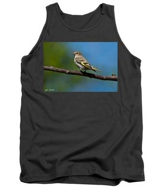 Pine Siskin Perched On A Branch Tank Top