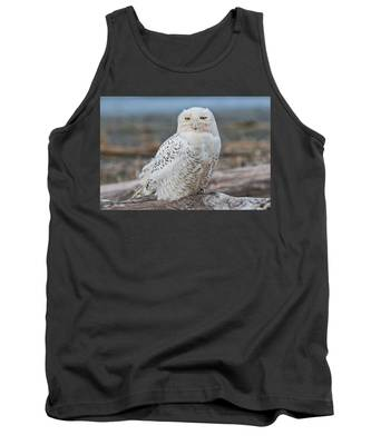 Snowy Owl Watching From A Driftwood Perch Tank Top