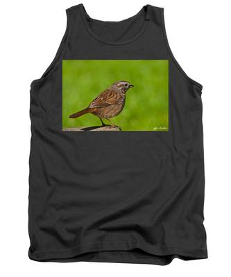 Song Sparrow On A Log Tank Top