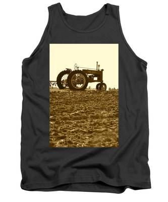 Old Tractor I In Sepia Tank Top