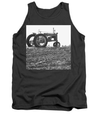 Old Tractor II In Black-and-white Tank Top