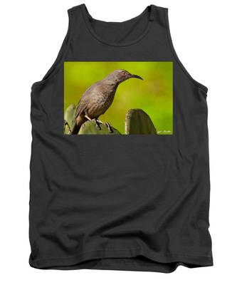 Curve-billed Thrasher On A Prickly Pear Cactus Tank Top