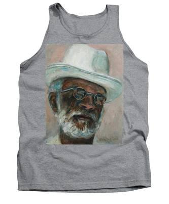 Gray Beard Under White Hat Tank Top