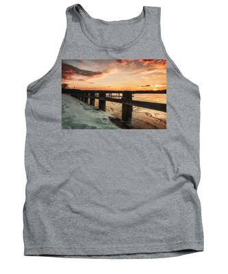 Snowy Sunset In Northport New York Tank Top