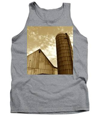 Barn And Silo In Sepia Tank Top