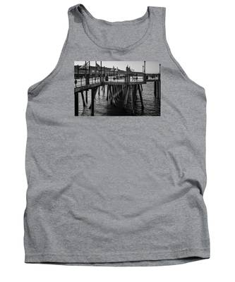 Black And White On The Pier Tank Top