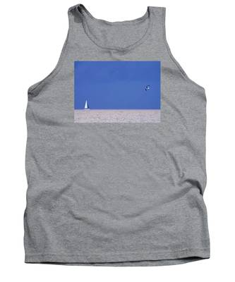 Black And White Sailboat And Seagull Tank Top