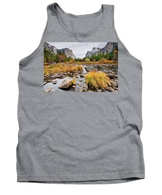 El Capitan And The Merced River In The Fall Tank Top
