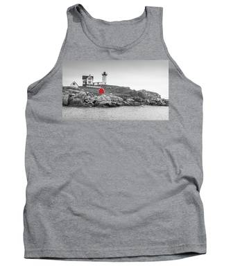 Nubble Lighthouse In Color And Black And White Tank Top
